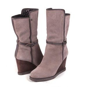 Miss Sixty Suede Leather Wedge Boots Taupe Grey 39